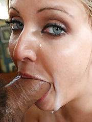 Ariel Summers deepthroat POV action on mans huge penis and balls