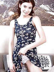 Teen amateur Taffy removing lace lingerie to make nude modeling debut