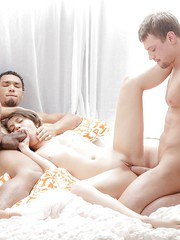 Young brunette Fantina does 2 guys at once after relieved of sheer lingerie
