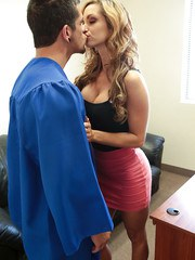 Hot blonde teacher Ashley Sinclair seducing male student in her office