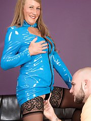 Older lady in latex garb and black stockings seduces younger guy with big cock