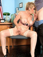 Over 60 secretary Lin Boyde seducing her younger co-worker for sex in office