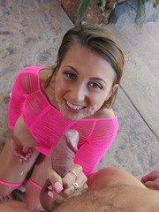 Busty girl Ivy Rose banging in pink mesh on patio from a POV perspective