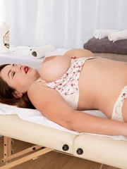 Amazing fatty Vicky Soleil gets her body and big tits massaged and twat nailed