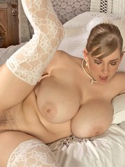 Superb fatty Christy Marks boasts of her huge boobs and toys her narrow twat