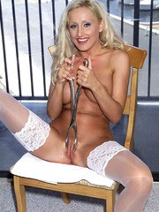 European mature in stockings and white fishnet Zora Banks shows a deep tunnel