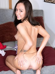 Latina amateur Lily Jordan uncovers perky breasts on way to posing in the nude