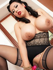 Sexy Asian housewife Tigerr Benson having fun with her vibrator in her kitchen