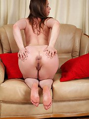 European wife Olga Cabaeva strips and shows off freshly shaved pussy