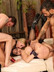 Two bitchy milfs go crazy in a group sex action and get their cunts screwed