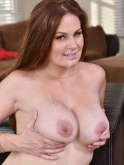 Allison Moore throats cock then lets it splash cum on her mind blowing tits
