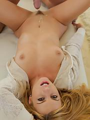 Hot blonde chick Lexi Belle gets only half undressed while banging her lover