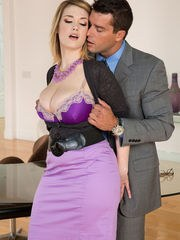 Busty Siri takes dady for a few rounds of hardcore sex while in the kitchen