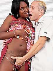 Ebony amateur Jordan Lover offering her hairy pussy to tongue and dick