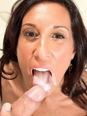 Mature lady Cheryl Conner fucks a younger man senseless and tastes his cum too