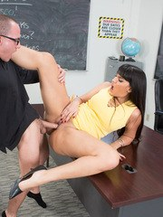 Latina MILF Mercedes Carrera grinds on cock and gets a cum load on big tits