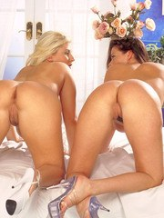 European lesbian milfs with big bouncing tits lick each others jugs and cunts