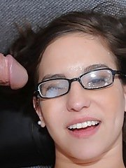 Sexy amateur babe in glasses gets penetrated deep and hard in a closeup shoot