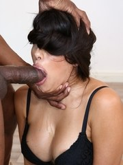 Brunette Latina Mercedes Carrera undergoes a hard face fuck from a BBC