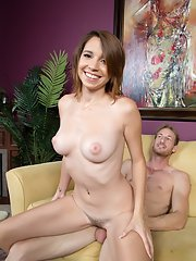 Teen pornstar CeCe Capella wears a smile on face while getting banged