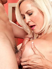 Mature sex doll with big tits Carrie Romano gets her shaved pussy creampied