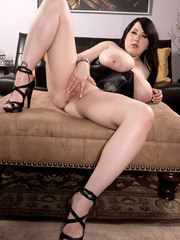 Fatty babe with huge boobs Kamille Amora shows her holes and fingers them deep