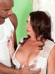 Mature fatty Margo Sullivan gets pussy drilled and creampied by a black guy