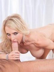 Blonde pornstar Alix Lynx enjoys oral games in 69 and gets facialized