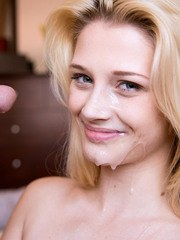 Gonzo amateur blonde Aubrey Gold takes a ride on a pecker and gets a facial