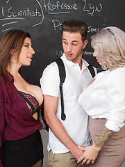 Hot MILF teachers Alyssa Lynn  Sara Jay introduce a student to 3some fucking