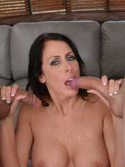 Brunette MILF pleases a couple of her sons hipster friends
