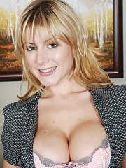 Hot office MILF Velicity Von takes off her uniform to show big tits and pussy