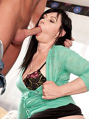 Over 40 brunette woman Lilly sucks off her boy toys long cock