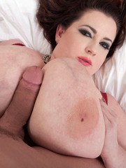 Obese female Anna Beck pleases a cock with her giant tits and lips