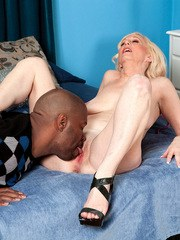 Hot over 50 woman Jackie Pierson and her young black lover fuck up a storm