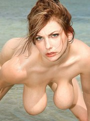 Big tits woman Christy Marks poses naked in the water and fingers her snatch