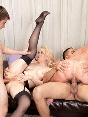 Mature fatty Robin Pachino and her girlfriend get gangbanged hard in foursome