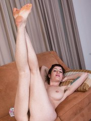 Hirsute MILF Stacey Stax proudly displays her hairy armpits and beaver