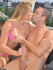European teenager Haley Hill blows her boyfriend and his buddy at same time