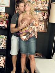 Stacked MILF Harmony Bliss gives men's magazine viewer a BJ & tit fuck in shop
