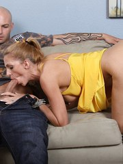 European MILF Roxanne Hall hungrily devours a big cock with dick sucking lips