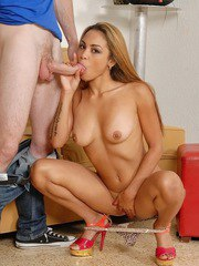 Naked Latina Guiliana Alexis tongues the nut sac while giving oral sex