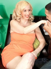 Hot older lady Jackie Pierson greets Latino gigolo with BJ before they screw