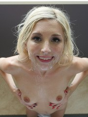 Blonde spinner Piper Perri screams on top of cock before a POV cumshot