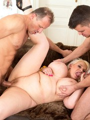 Older fatty Samantha Sanders has sex with her hubby and a younger man at same