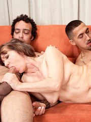 Mature lady Elle Denay hires 2 Latino gigolos to butt fuck and spit-roast her