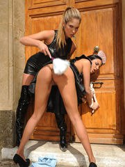 Eva Parcker ties her maid Anissa Kate to doorknob and uses her as she pleases