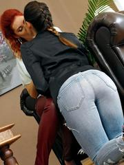 Clothed dykes Kate Gold  Keira pull down pants to finger horny twats