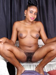 Black amateur Amber slips off lace undies to better display her wide open bush