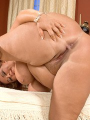 Fat aged lady Veronika Kougar play with her hooters and pussy after undressing